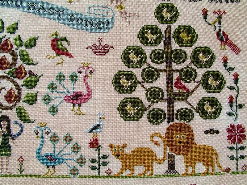 Plum St. Samplers Paradise lost peacocks