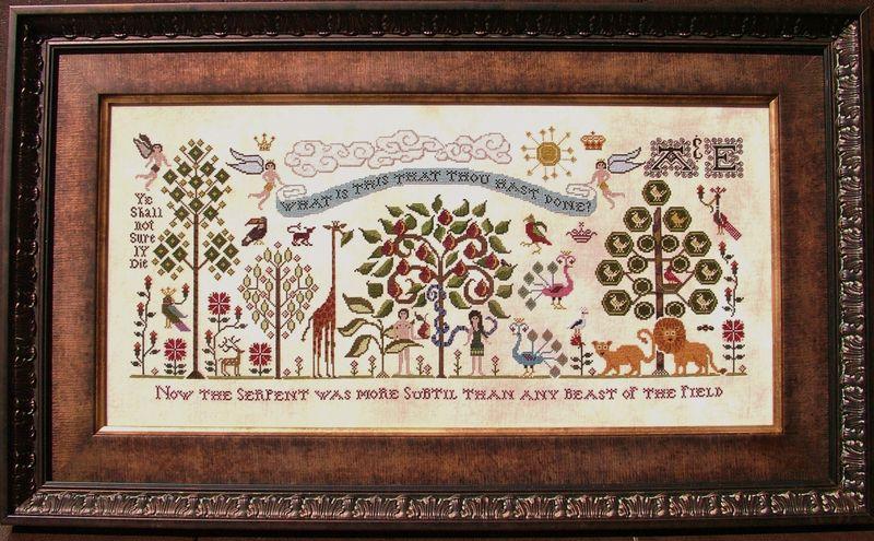 Plum St. Samplers Paradise Lost framed