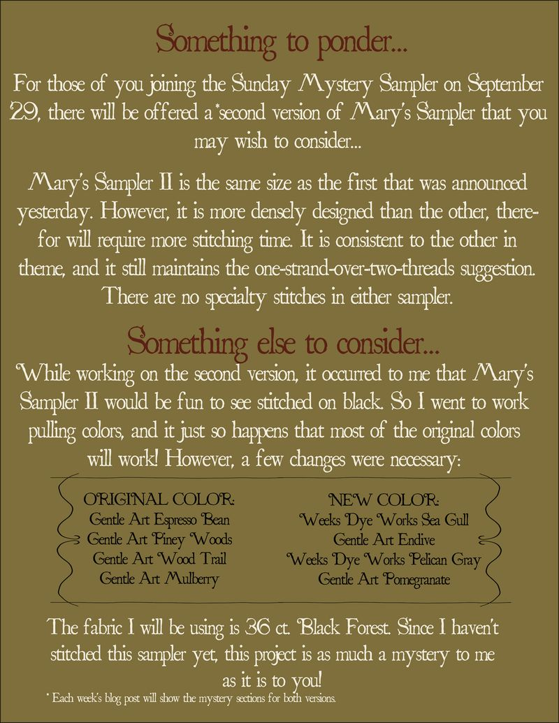 Mary's Sampler II Announcement tp