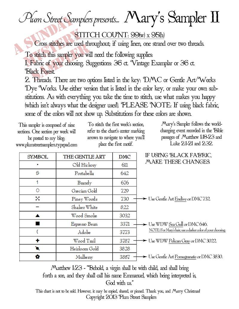 Mary's Sampler II INSTRUCTIONS