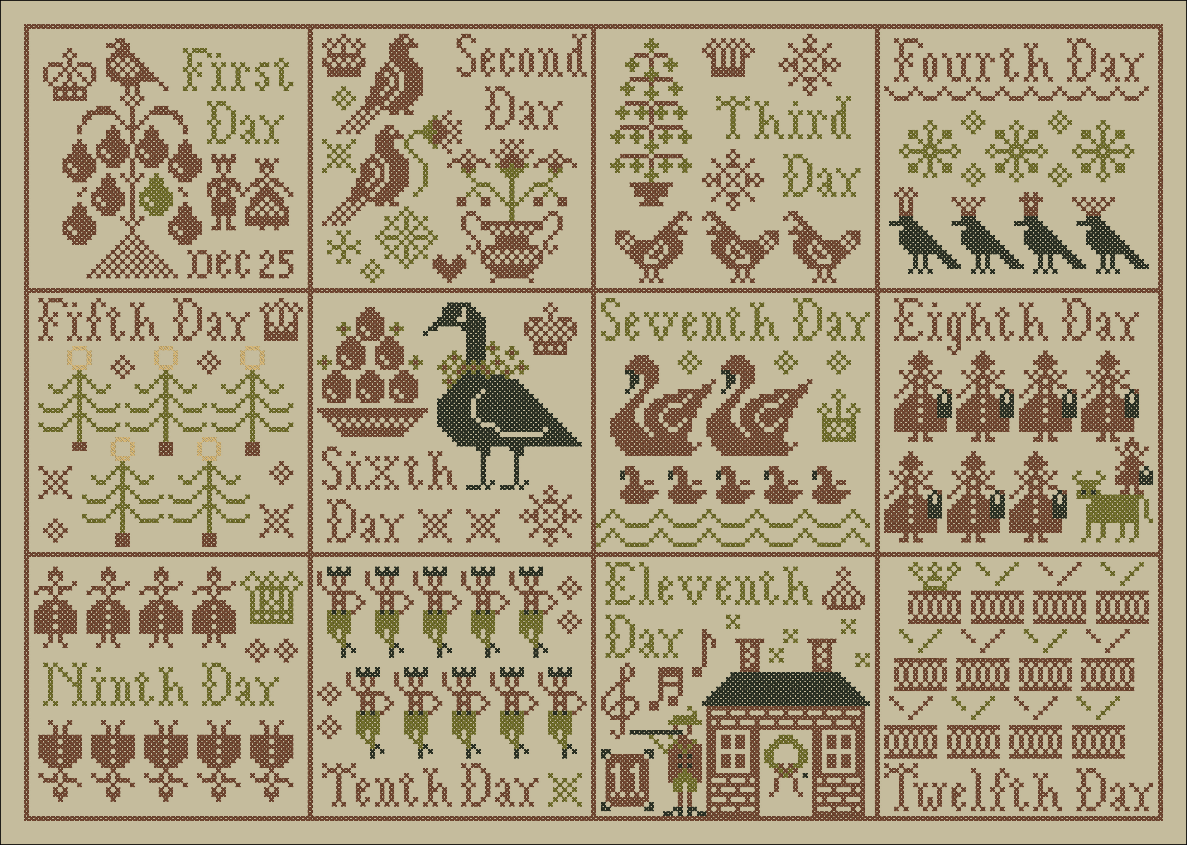 12 Days Of Christmas Cross Stitch.Plum Street Samplers The Grand Finale