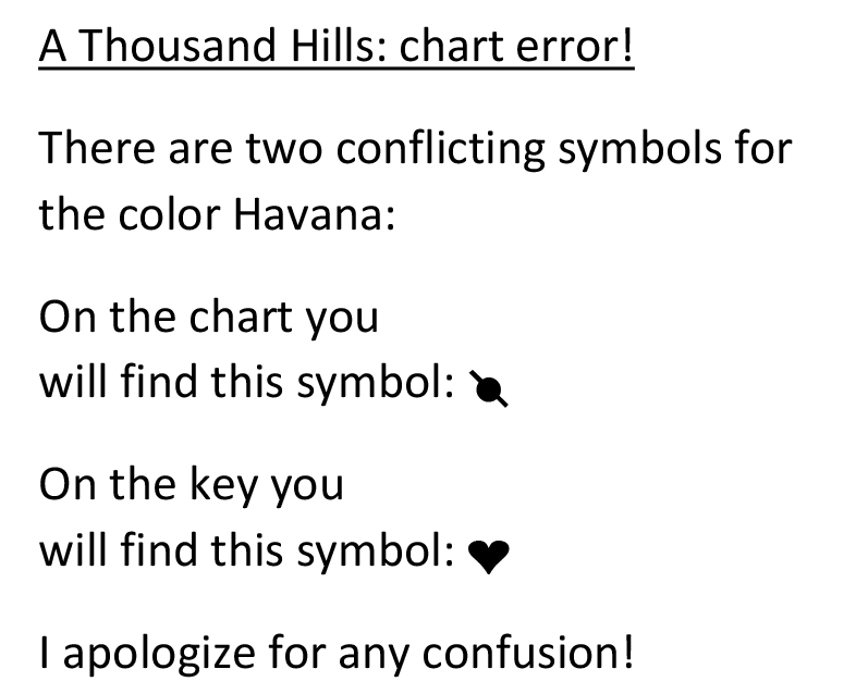 A Thousand Hills chart correction